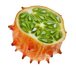 African horned cucumber You guessed it! As its name suggests, this funny fruit hails from Africa. It has a jelly-like texture, with an interesting taste that can only be described as a mix of banana and lemon. It will certainly make a delicious addition to any smoothie or purée!