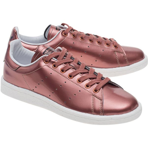 ADIDAS ORIGINALS Stan Smith Boost Copper Metallic // Metallic sneakers ($140) ❤ liked on Polyvore featuring shoes, sneakers, adidas, adidas originals trainers, synthetic shoes, perforated sneakers, copper shoes and metallic sneakers