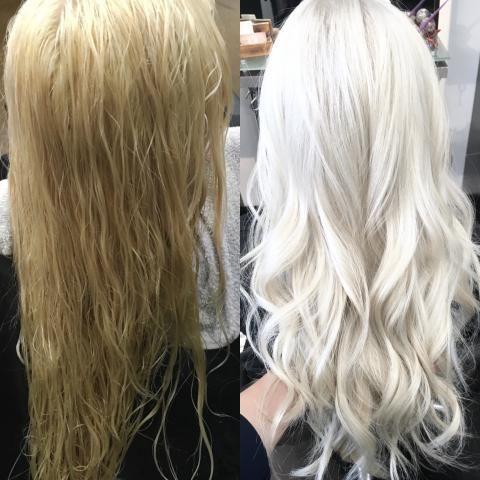 """Taylor Rubio(@@TaylorRubioHair) ofLegends Ladera Salon, Ladera Ranch, CA. says that although he is known for effortless/beach bum styles he """"got to have fun bringing my normal full weave client to an all over pearly platinum. She started out with about 6 inches of level 6 regrowth and a grown out yellow tinged partial weave highlight."""" Here he shares how he delivered this platinum ice finish in 3 sessions: FIRST 3 SESSIONS:"""