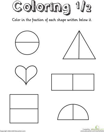 coloring shapes the fraction 1 2 places to visit first grade math worksheets fractions. Black Bedroom Furniture Sets. Home Design Ideas