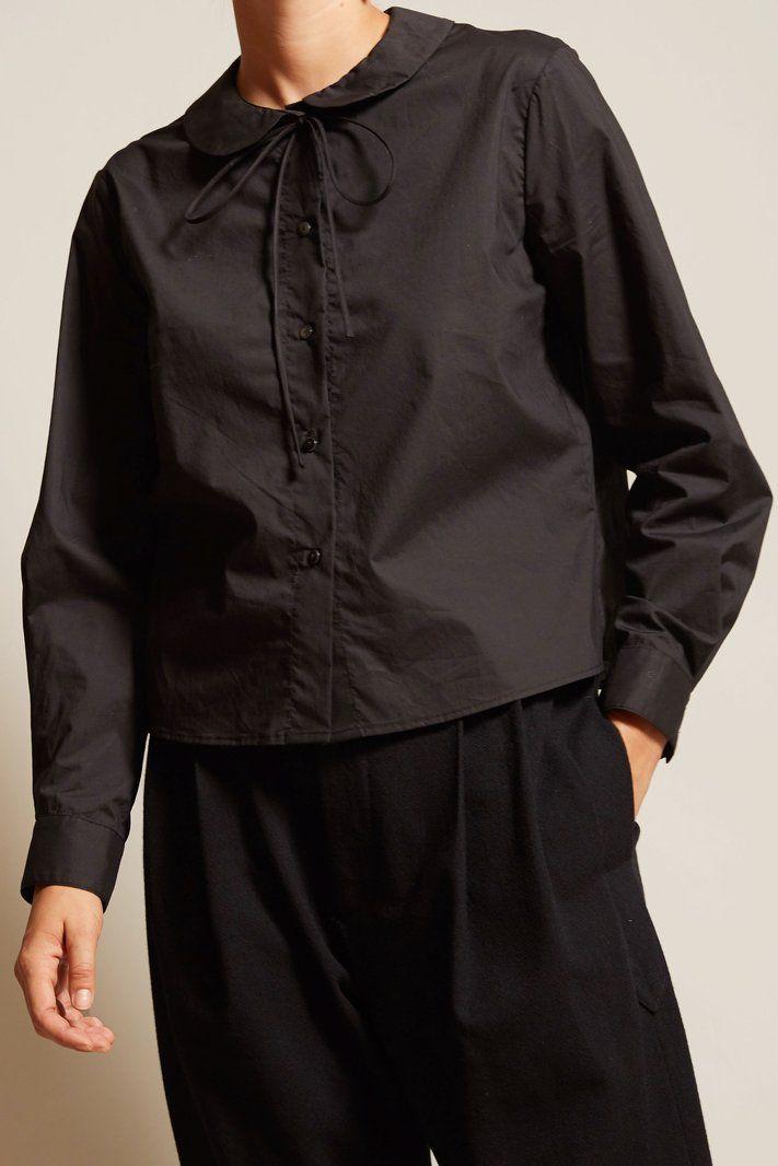 No.6 T-Bell Round Collar Top in Black Cotton Poplin
