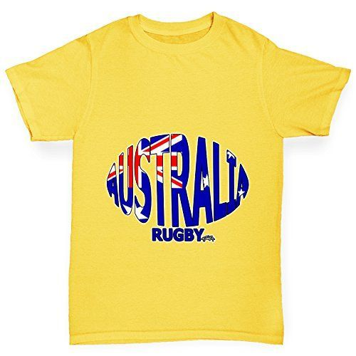 Twisted Envy Boys Australia Rugby Ball Flag Organic Cotton Yellow TShirt Age 1214 -- Find out more about the great product at the image link.