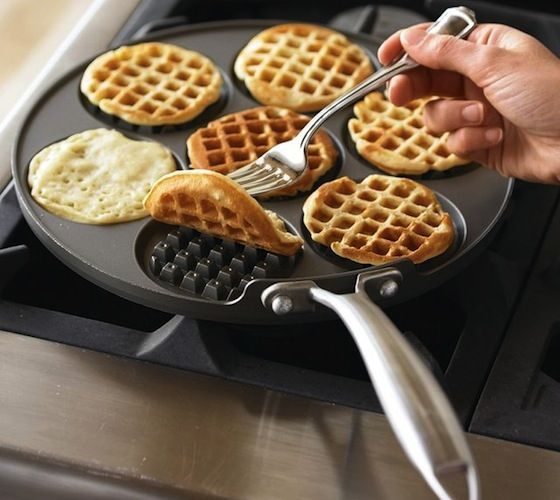 Nordic Ware Waffled Pancake Pan / This heavy cast aluminum waffle griddle ensures even heating. Make 3 inch dollar size pancakes in this delightful waffle shape. http://thegadgetflow.com/portfolio/nordic-ware-waffled-pancake-pan/