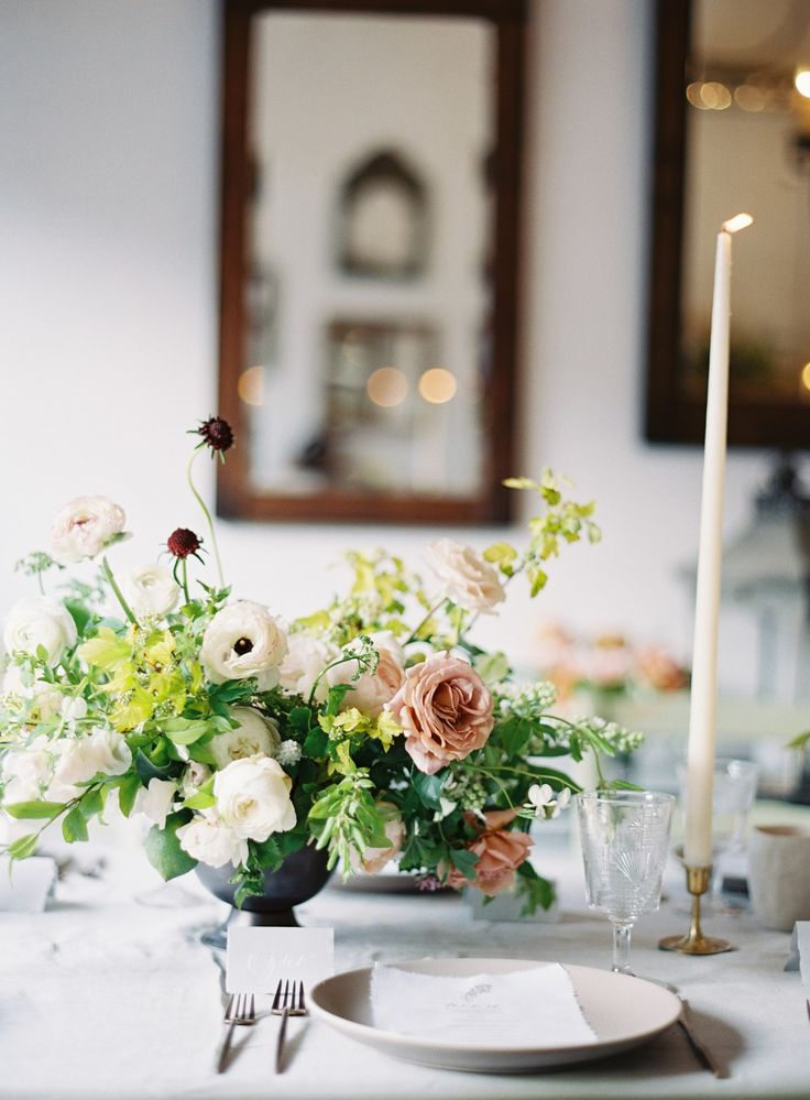 blush, white, red - tinge floral