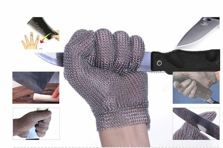 Cortar verduras carne prevenir cuchillo cadena cubierta dedo de guante guante de malla de acero inoxidable 304L de acero cortar nivel resistente 5(China (Mainland))