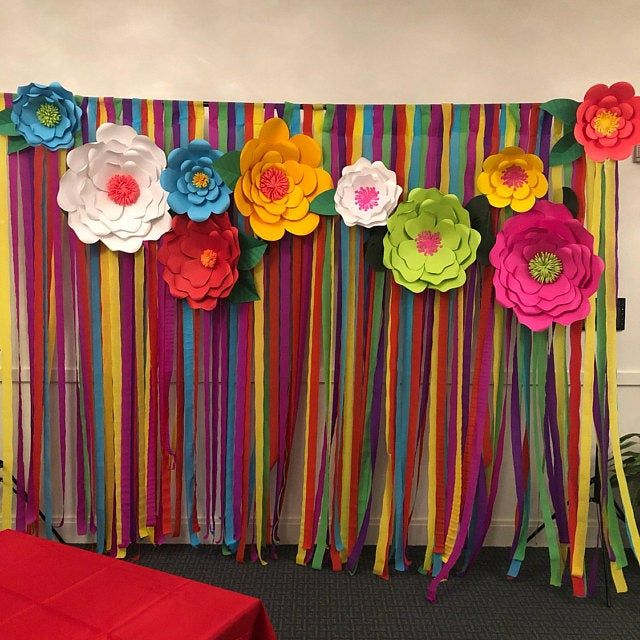 Mexican Fiesta Paper Flower Wall For Party Decor Wall Decor Cake