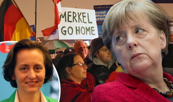 GERMANY must have a UK-style referendum on its membership of the EU, the political party which gave Angela Merkel a bloody nose over the migrant crisis insists.