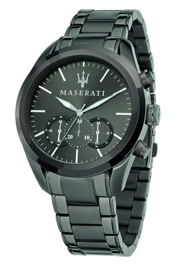 Montre homme chronographe en acier par Maserati – 289.00€  Classique avec une touche d'originalité, cette montre Maserati vous accompagnera en toutes occasions !