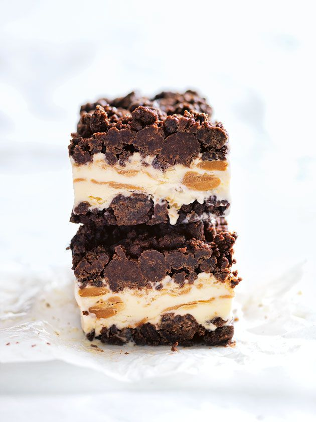 peanut butter and chocolate brownie ice-cream bars- sounds yum just make own brownies instead of bought