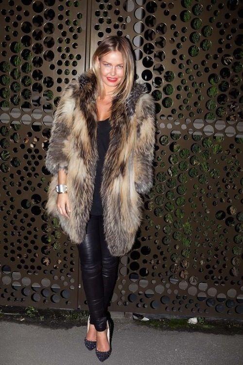 winter uniform: leather pants & a fur coat