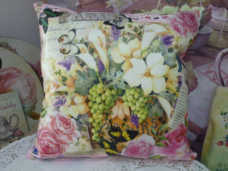 My Decoupage Artwork - Decoupage on pillow