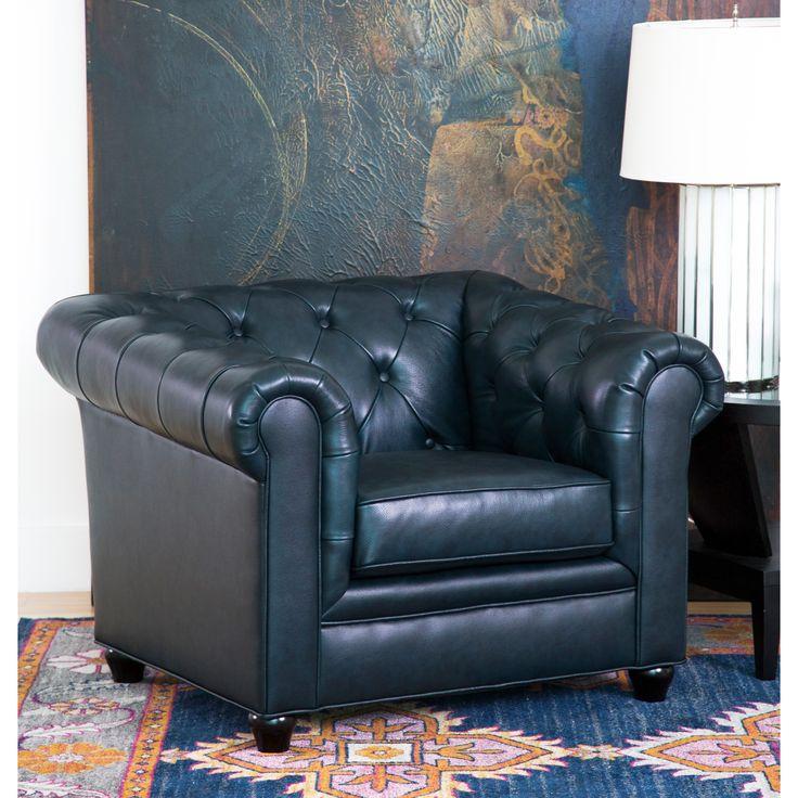 Abbyson Tuscan Top Grain Leather Chesterfield Armchair (Navy Blue) (Foam)