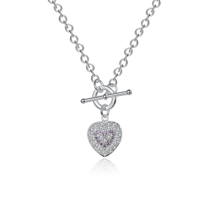 Купить Горячие Продаем Новая Мода Фиолетовый Каменное Сердце Кулон Ожерелье Цепь…