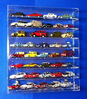 Acrylic Model Wall Display Case for 1:43 Model Cars with 8 Shelves from Widdowsons Ltd