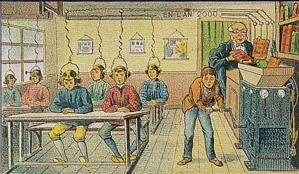 Á l'École. By Villemard. Fuente: Galería Virtual de la biblioteca Nacional de Francia. http://expositions.bnf.fr/utopie/feuill/index.htm