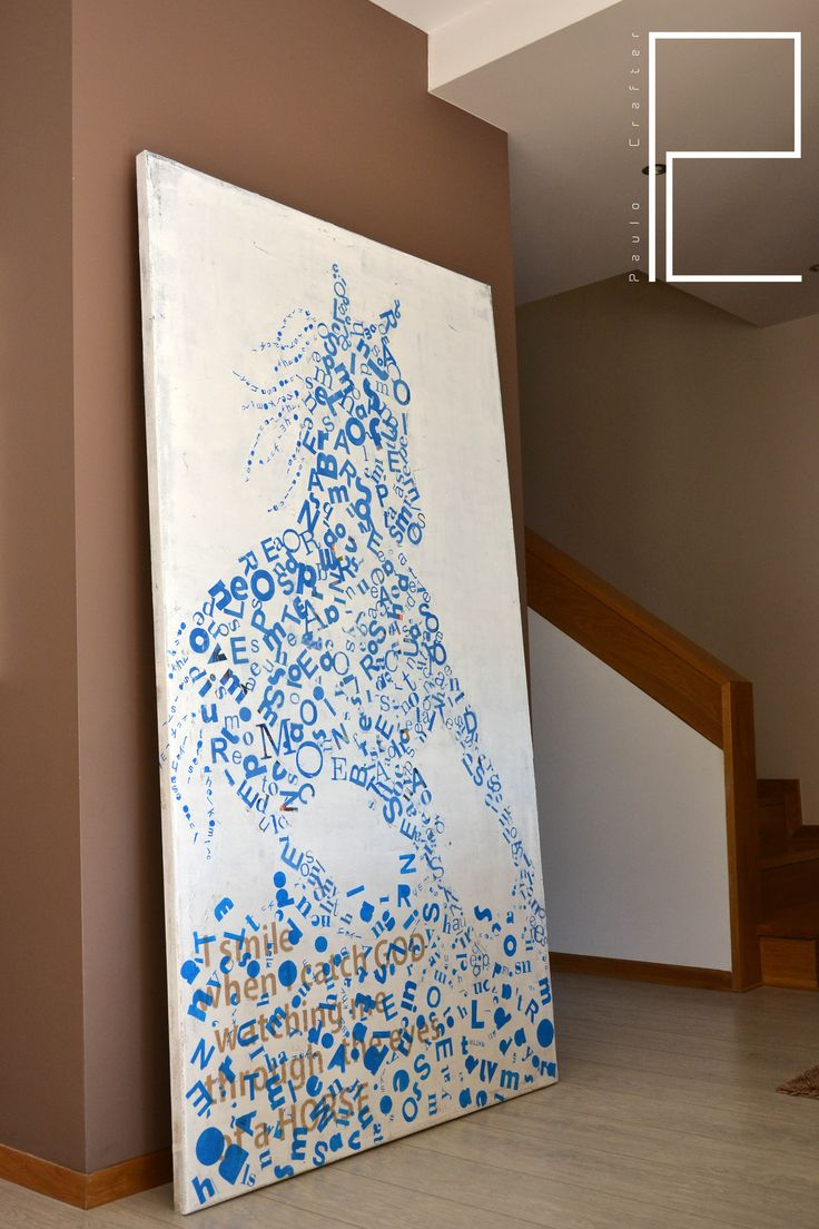 """Painting """"Written Horse"""" by Paulo Crafter. Mixed media, stencil and acrylic paint on canvas . 110x200 cm"""