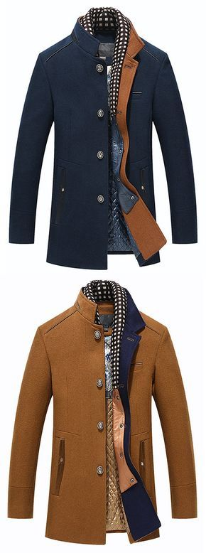 US$59.77 Winter Thicken Wool Mid Long Business Casual Trench Coat Slim Fit Jacket for Men