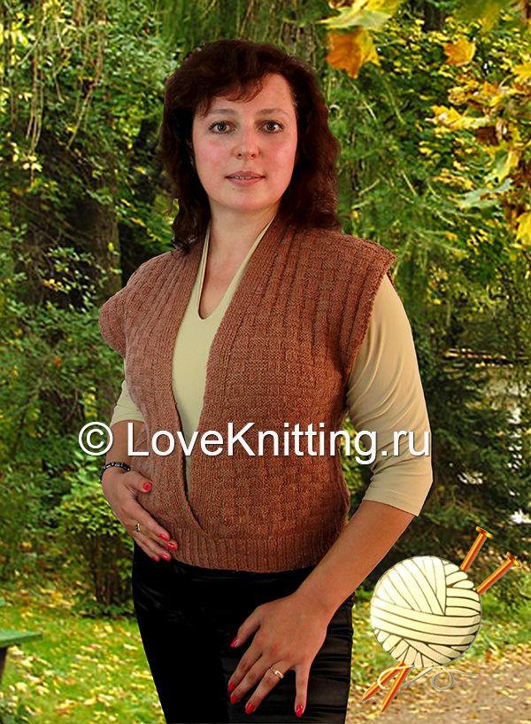 Жилет узором «рогожка»   Loveknitting.ru
