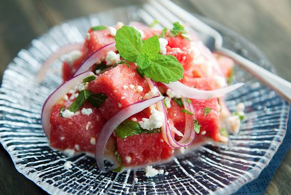 Watermelon feta salad: Olives Oil, Red Onions, Watermelon Feta Salad, Limes Juice, Food, Than, Salad Recipe, Real Butter, Summer Salad