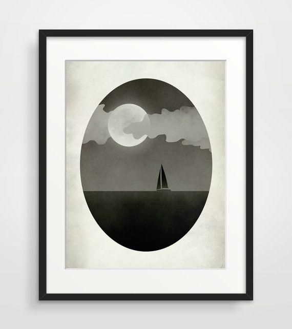 Zeilboot Black and White Art Print grillige kunst door evesand