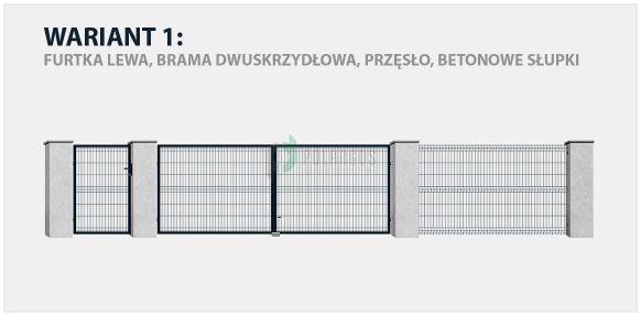 Ogrodzenie panelowe Sparta 50 w wariancie z bramą dwuskrzydłową i betonowymi słupkami.