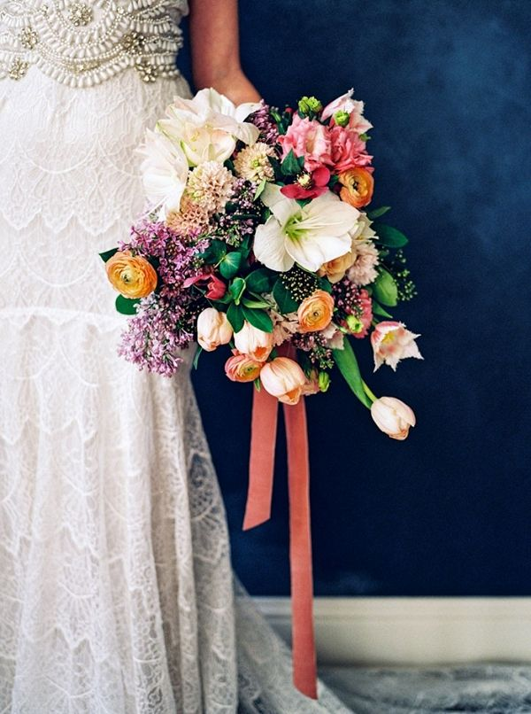 Colorful Bridal Bouquet with an Embellished Lace Wedding Dress | Callie Manion Photography on @heyweddinglady via @aislesociety