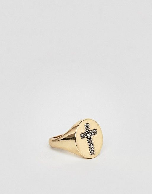 ASOS Gold Sovereign Ring With Crystal Encrusted Cross