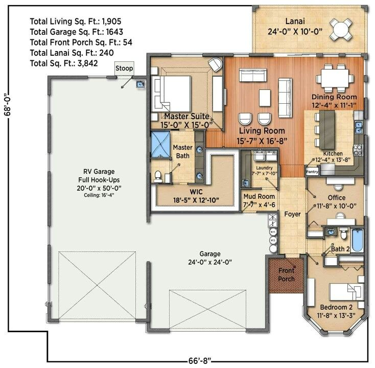 Rv Garage Plan With Living Quarters: Just Add A Door From The Closet To The Laundry Room