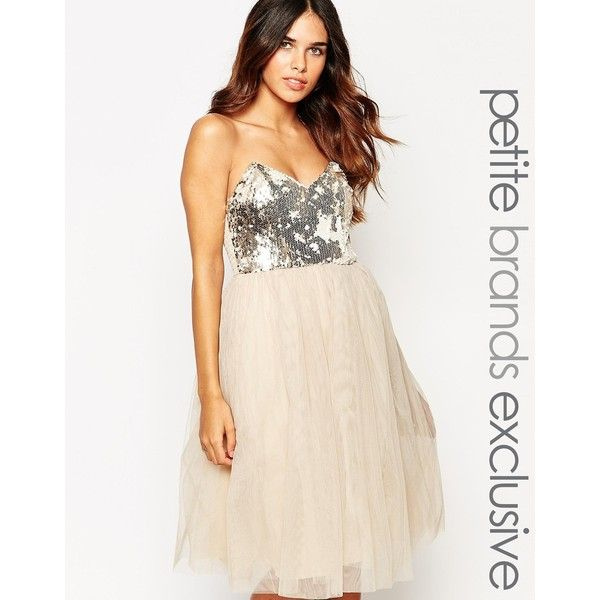Little Mistress Petite Sequin Bandeau Prom Dress (€93) ❤ liked on Polyvore featuring dresses, beige, petite, pink dress, chiffon cocktail dress, prom dresses, sequin dress and sequin prom dresses
