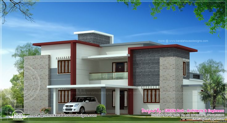 Front elevation of duplex house in 700 sq ft google for Flat roof elevation