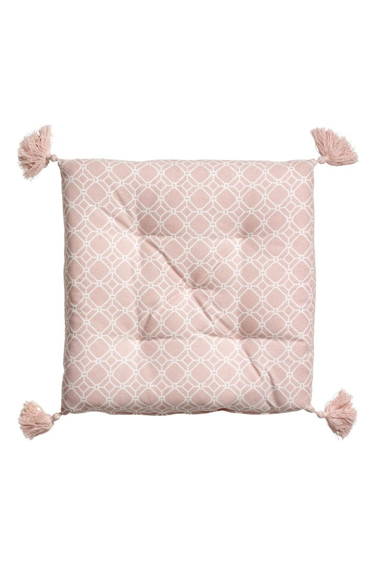 Seat pad with tassels - Light pink/White patterned - Home All | H&M GB 1
