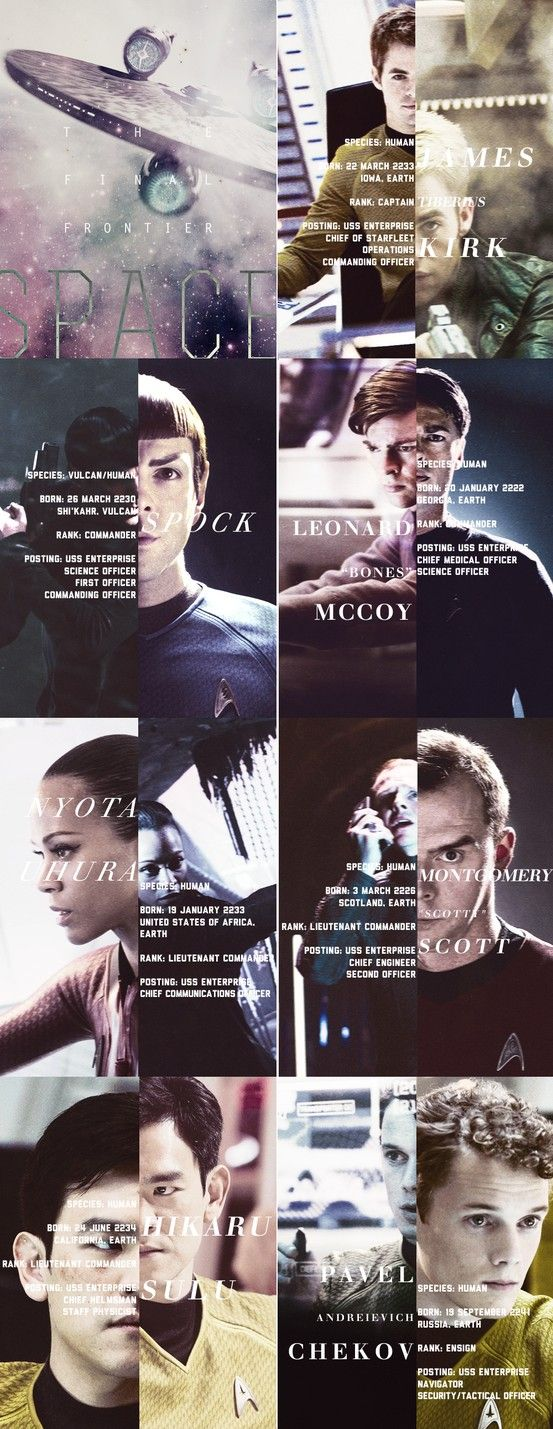 Star Trek Recast. Didn't know Uhura was actually from Africa <- THEY'RE ALL FROM EARTH THO (except Spock, who's from Vulcan). THIS BOTHERS ME. (Mass Effect spoiled me for this, mind you)