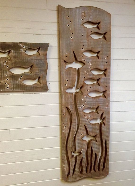 Fish Art Sign Panel Vertical Large Driftwood Colours Beach Lake House Decor by CastawaysHall - Ready to Ship