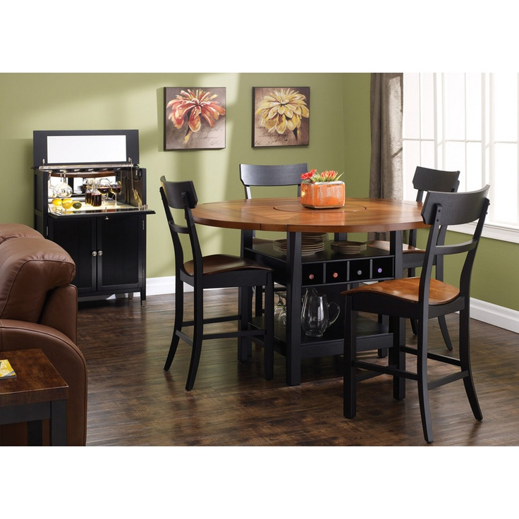 Excellent in a formal dining room or eat-in kitchen, this feature rich counter-height collection displays a modern cherry/black two-tone lacquered finish and has a table top lazy susan, two fixed shelves and wine storage.