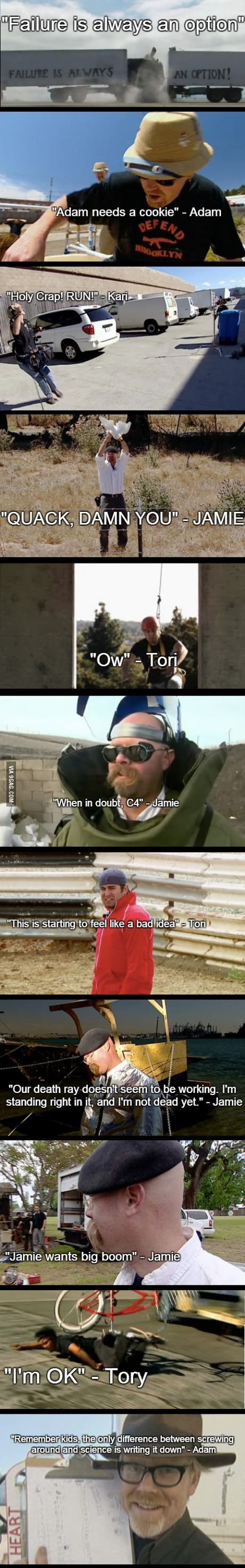 11 quotes which show Mythbusters doing science...stuff love the last one XD