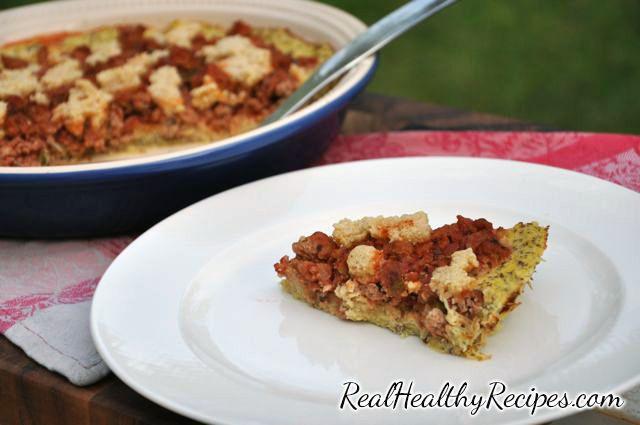 Gluten and grain free recipe for Spaghetti Pie. With spaghetti squash