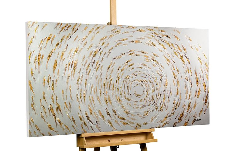 KunstLoft® Acryl Gemälde 'Im Teich' 140x70cm | original handgemalte Leinwand Bilder XXL | Abstrakte Goldfische Fische Tiere Weiß für Wohnzimmer | Wandbild Acrylbild moderne Kunst einteilig mit Rahmen