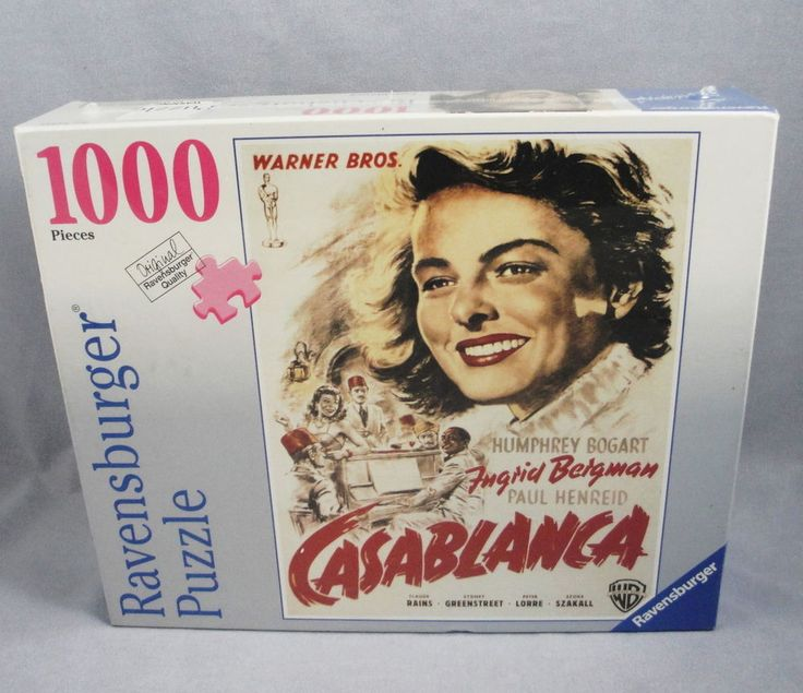 German Ravensburger Puzzle 1000 pc Casablanca Movie Poster Ingrid Bergman 20x27 #Ravensburger