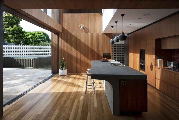 Flipped house timber kitchen