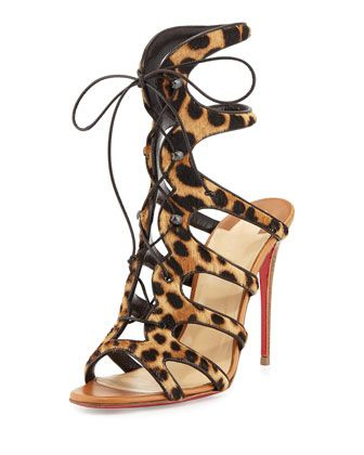 Amazoulo+Caged+Calf-Hair+Red+Sole+Sandal,+Brown+by+Christian+Louboutin+at+Neiman+Marcus.