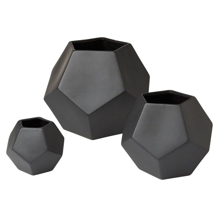 Faceted Vase-Matte Black