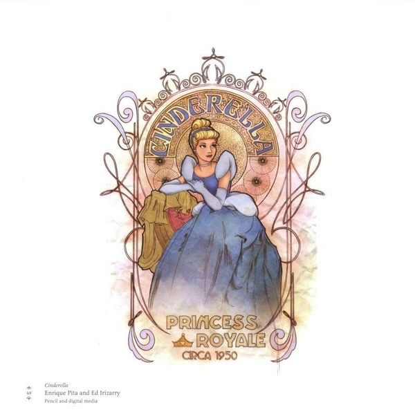 Art Nouveau Disney princesses: Cinderella (pencil & digital media). by Enrique Pita and Ed Irizarry.