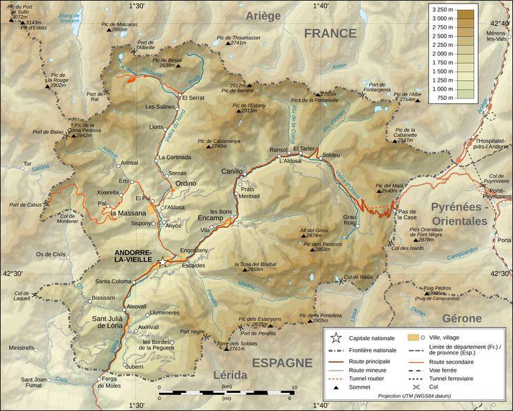 Retrouver une (ou plusieurs) carte de l'Andorre, le pays se trouve entre la France et l'Espagne dans la chaîne montagneuse des Pyrénées.
