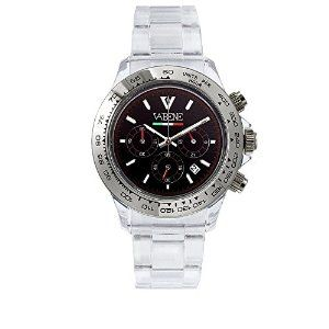 Product Description Case size: 40mm diameter Swiss made quartz battery movement Silver round dial with indices Silver plastic polycarbonate case Silver acrylic bracelet with locking clasp Fixed stainless steel bezel Date calendar function Mineral glass crystal Water resistant to 50atm Limited Edition