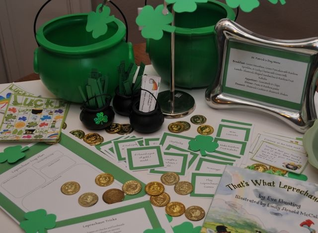 Think Green St. Patrick's Day Celebration- activities and ideas for celebrating St. Patrick's Day with #kids and #families.  Includes links to free printable activity cards, Leprechaun Games, and conversation starters.