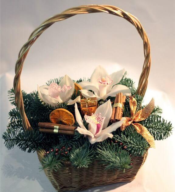 Орхидеи, корица, сушеный лимон, нобелес, корзинка, декор.