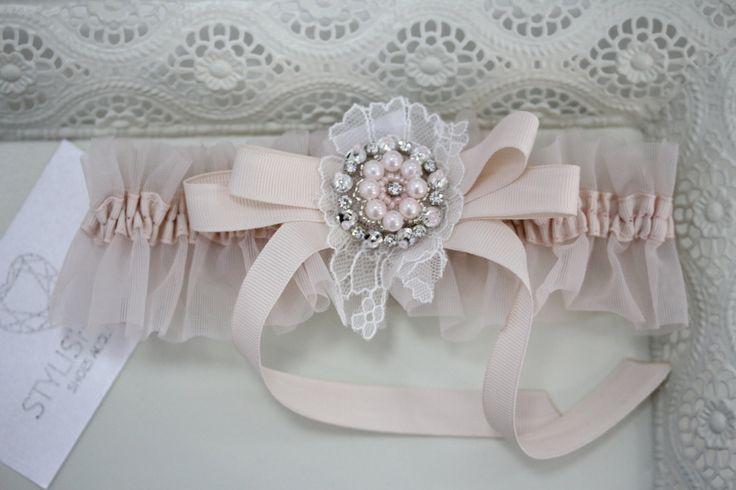 SALE! Amazing Wedding Garter Blush Lace, Pink Bridal Garter, Lace Crystals Blush Garter, Tulle Blush Wedding Garter by StylishBrideAccs on Etsy