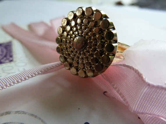 Gold vintage glass textured circle cabochon ring by morethandivine, £15.00