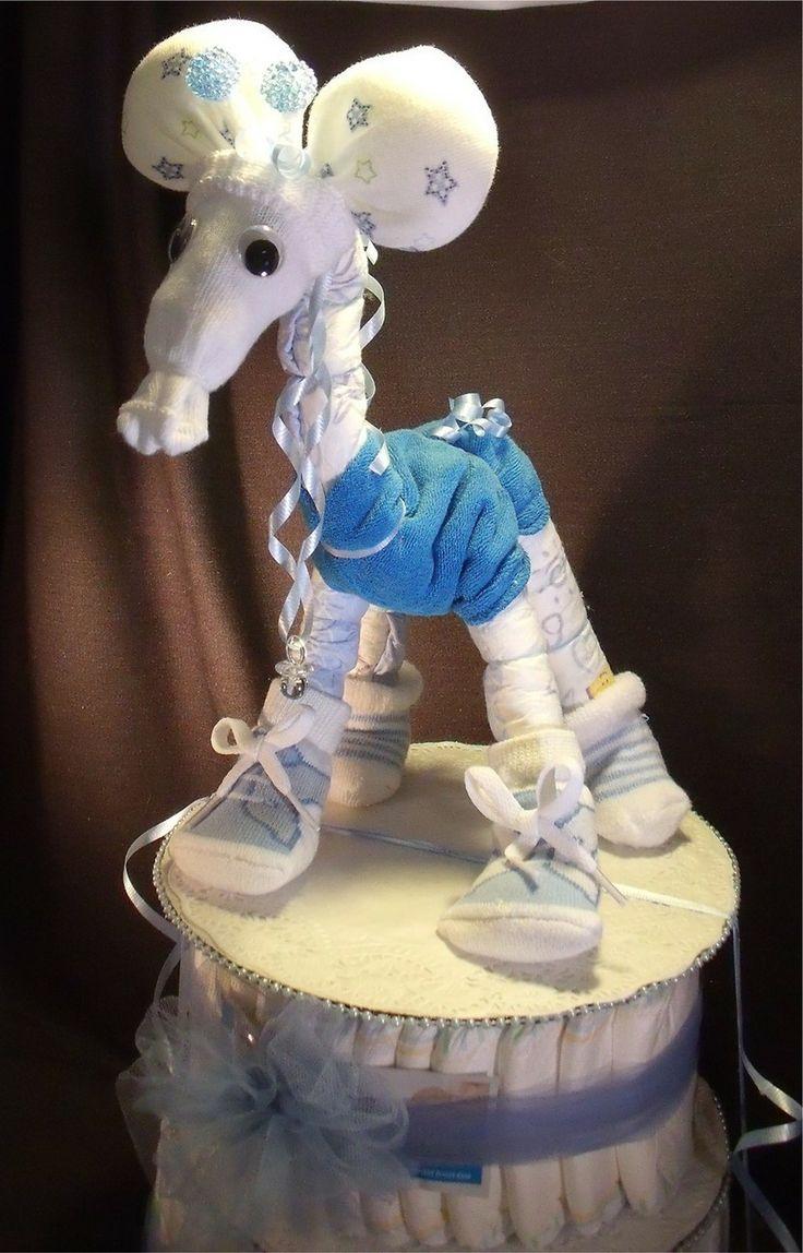 Baby Boy Gift Cake : Baby boy giraffe diaper cakes blue shower