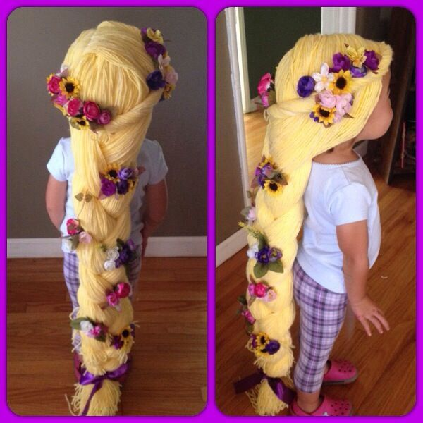 Rapunzel Hair Yellow Yarn Wig Diy Halloween Costume Girl Dress Up Girldressu Yarn Wig Girls Dresses Diy Baby Girl Dresses Diy